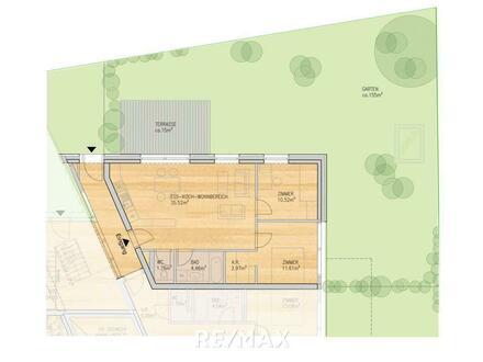 Die Kompakte mit großem Garten. 3-Zimmer Wohnung mit Gartenanteil