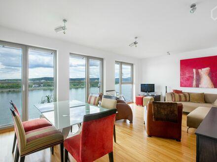 Elegante 3-Zi.-Luxus-Wohnung mit wundervollem Rhein-Panorama | Elegant 3-room luxury apartment with wonderful Rhine panorama