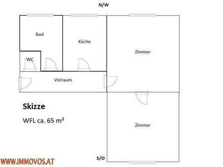 2 Zi Wohnung 65m² neu saniert