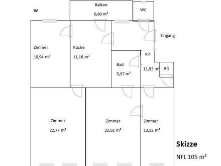 4 Zi Wohnung - Nähe Draschepark