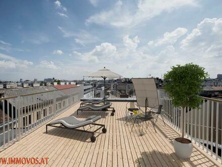 Genießen Sie diesen fantastischen Panoramablick: Penthouse-Erstbezug mit Dachterrasse auf Altbau + Stellplatz