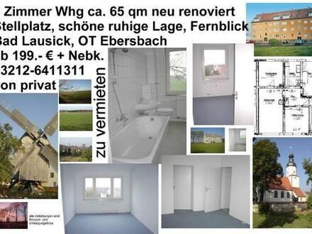 3 Zimmer Küche Bad, Stellplatz, ruhige Lage, EG (z.B. für ältere Personen) od.OG frei wählbar,Garten