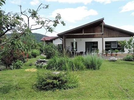 Sie wollen keine Nachbarn, keinen Straßenlärm? Ruhe und Natur im Architektenhaus sind garantiert - Bungalow hell und geräumig mit gepflegtem Garten und Garage