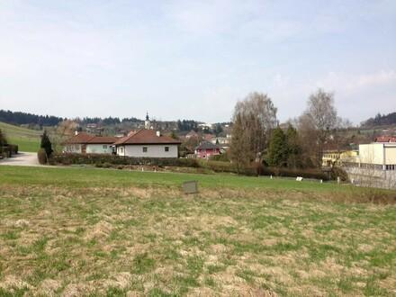 Grundstück mit Blick ins Ortsgebiet