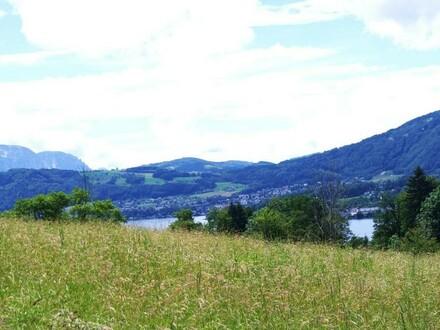 Aussicht auf den Traunsee und ins Gebirge
