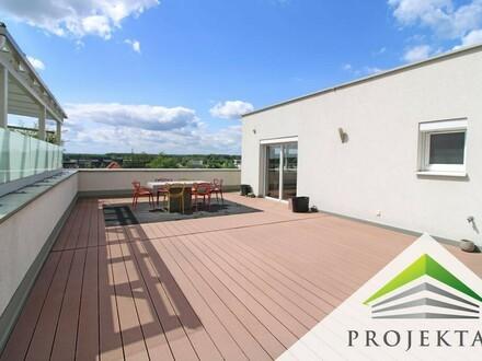 Residieren in der Oberklasse! Möbliertes Penthouse mit 139 m² Dachterrasse in Steyregg! | 360° Rundgang online!