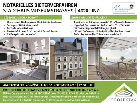 BIETERVERFAHREN: Historisches Stadthaus mit baubewilligter Projektentwicklung