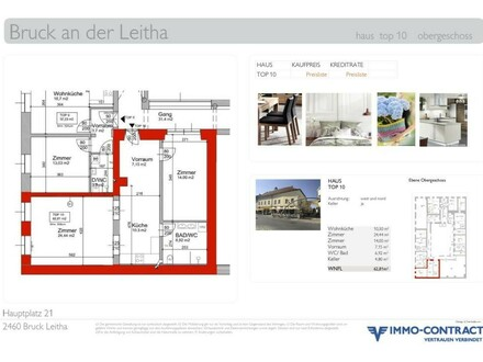 ANLAGE am Hauptplatz Bruck/Leitha. Mietzins-Garantie für 18 Monate. Generalsaniertes Stadthaus, Top 10