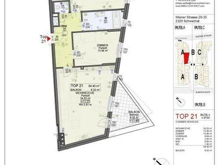 PROVISIONSFREI! Jetzt mit Garage! 3 Zimmer,84m², Balkon ca. 9m², Hell & Sonnig, Stiege A Top 21