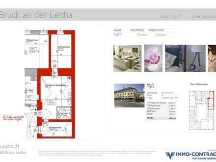 MIETZINS-GARANTIE für 18 Monate. Wohnung als Anlage mit Blick auf den Hauptplatz von Bruck/Leitha. Schlafzimmer in den Innenhof,…