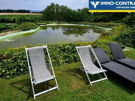 Alleinlage fühlen! Uneinsehbares, tolles Haus und Grundstück mit großem Schwimmteich!