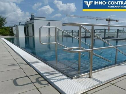 Ruhige 3-Zimmer Wohnung mit großer Grünfläche und Pool am Dach