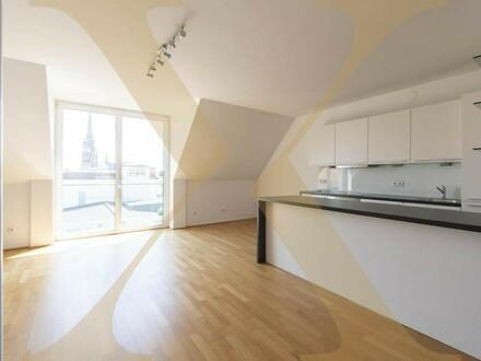 Exklusive 2-geschoßige DG-Wohnung mit Balkon und Weitblick mitten in der Linzer Innenstadt zu vermieten!