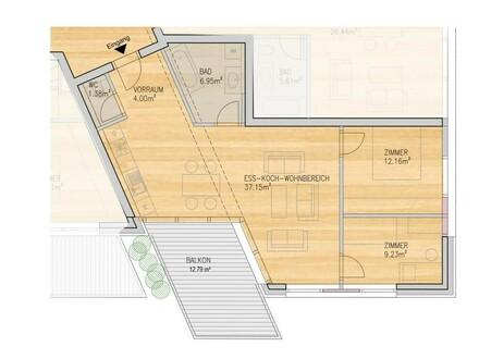 Lichtdurchflutete 3-Zimmer Atriumwohnung