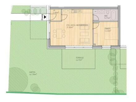 2-Zimmer Wohnung mit Gartenanteil Top 2.1