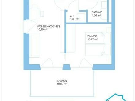 Renditeobjekt: 2 Zimmer Neubau Wohnung