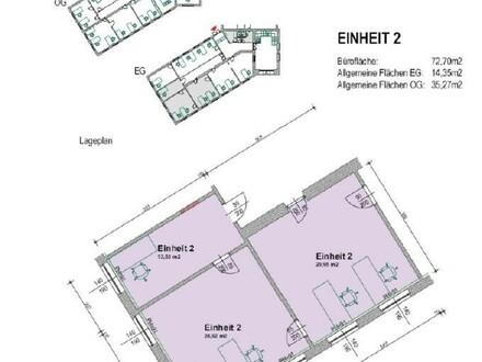 Büroeinheit mit 3 Zimmern im Erdgeschoss