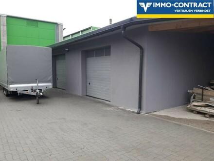Werkstätte und Büro, Tankstelle und Freiflächen.