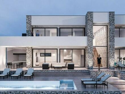 Moderne Steinvilla mit Meerblick