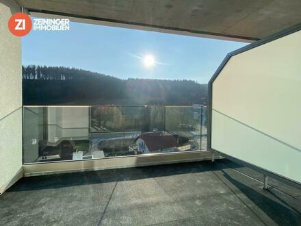 !NEUBAU! Sonnige 2 Zimmer -Dachgeschosswohnung mit tollem Balkon über den Dächern von Linz