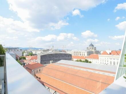 Blick auf das Museumsquartier - Luxus-Dachgeschoss mit Sonnenterrasse // View over Museumsquartier - Luxury Attic Duplex…