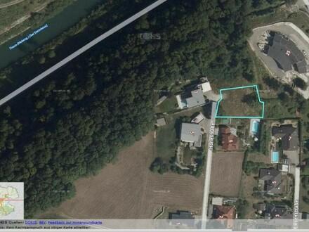 Grundstück auf dem Hochplateau Traunleiten/Steinhaus mit Blick auf die Traun und auf die Stadt Wels