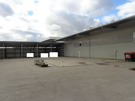 Lagerhalle mit Bürogebäude und großem Abstellplatz zu vermieten!