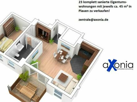 23 komplett sanierte Eigentumswohnungen mit jeweils ca. 45 m2 in Plauen zu verkaufen!