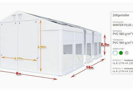 Lagerhalle Zelthalle 6x16x2,5m Transparent