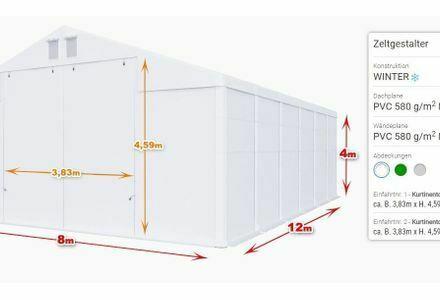 Lagerzelt 8x12 x4m Industriezelt Zelthalle Robuste Plane