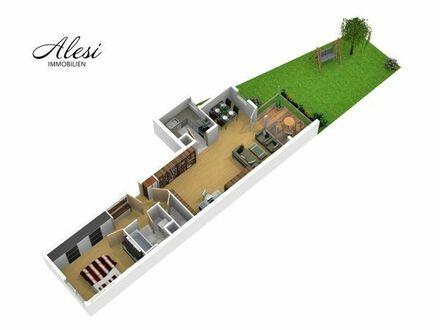 leerstehende 2-Zimmer-Wohnung mit Terrasse, Garten und Garage