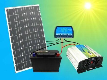 100W Solar - Komplettpaket + 100Ah Akku + 1000W Spannungswandler Solaranlage Gartenhaus Solarmodul